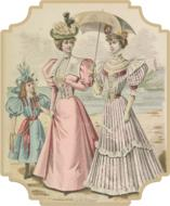 vintage fashion victorian girls drawing