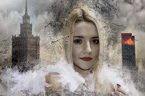 Fantasy Portrait of young Woman in front of burning skyscraper