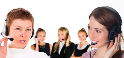 Call Center, Women with Headsets