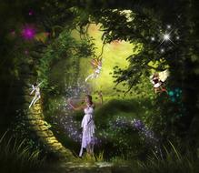 painted girl in a white dress in a fairy forest