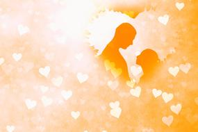 background with silhouette of couple in love in heart shape frame