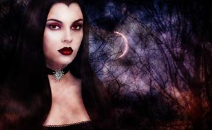 gothic portrait of a girl on the background of the night forest and the moon