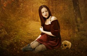Gothic model in the forest