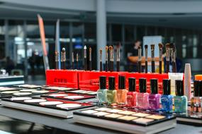 Cosmetics on exhibition stall