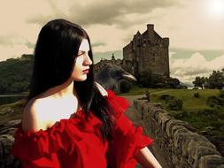 gothic fantasy, girl in red dress at castle
