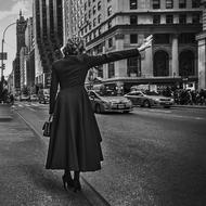 old time photo, Lady stopping car on Street, usa, Manhattan, nyc