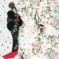 background scrapbook woman and flowers drawing