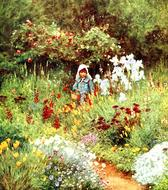 child in blooming garden, vintage painting by helen allingham