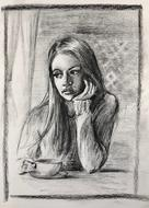sad girl in coffee shop, drawing