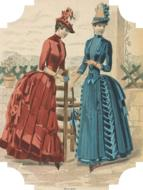 two ladies in fashion dresses, vintage tag, cutout