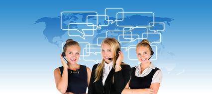 Call Center, three young girls with Headsets