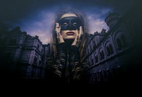 Woman in black mask at Gothic Castle, digital art