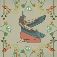 egyptian woman wings design drawing