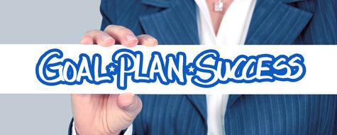 goal plan success hand banner