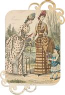two ladies and child girl, vintage fashion, dress tag, cutout