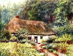 vintage drawing of countryside by Helen Allingham