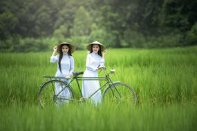Bicycle Woman Green grass