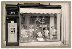 display of beauty parlour, historical photo