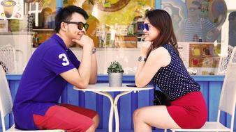 Couple fashion cafe