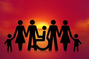 Inclusion, Group of people with person on Wheelchair, silhouette