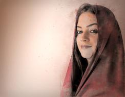 photo portrait of a girl in a scarf