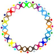 abstract colorful people holding hands in circle, frame