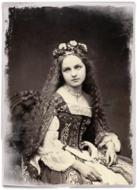 vintage photo of a girl in a medieval dress
