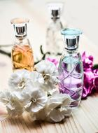 Perfume Bottle Glass and flowers