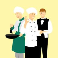 chefs and waiter, drawing