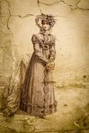 Victorian lady illustration on the wall