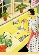 retro drawing, housewife cleaning kitchenware