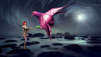 digital Fantasy, Woman and pink Dove