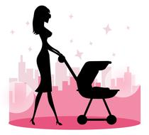 pink mom baby stroller drawing