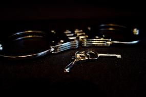 photo of handcuffs and keys on a black background