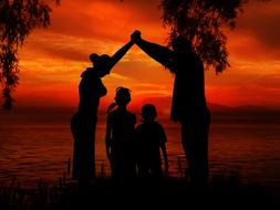 family children red sunset