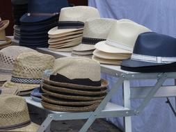 market stall with hats
