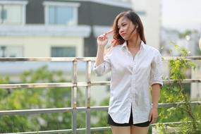 photo of a japanese girl in a white shirt