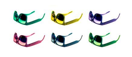 colorful sunglasses on the white background