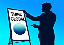 think global, male silhouette pointing at globe, drawing