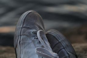 grey sports Shoes with Laces, detail