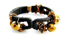 black leather bracelet with gold beads