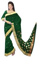 happy young Woman in Green Sari