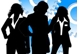 silhouettes of business women in blazers