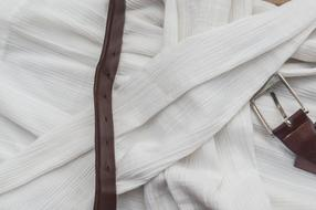 leather belt on white Shirt, Vintage Fabric