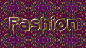 fashion, banner, embossed word at colorful pattern