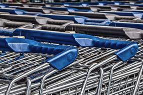 shopping carts with blue handles