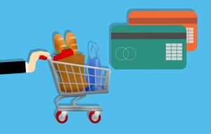 bank cards and shopping cart, credit market, drawing