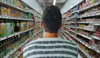 back view of Man in Grocery Store