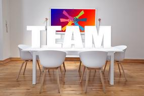 Team, white lettering on table, render
