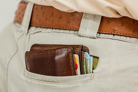 Wallet with Cash and Credit Cards in rear pocket